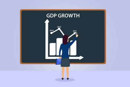 GDP business vector concept: Young businesswoman drawing chart of GDP growth on the blackboard