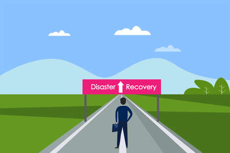 Business recovery vector concept: Young businessman standing on the road with disaster recovery text on the signpost Vecteurs