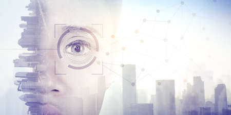 Double exposure of futuristic woman eye with connection network in cityscape background