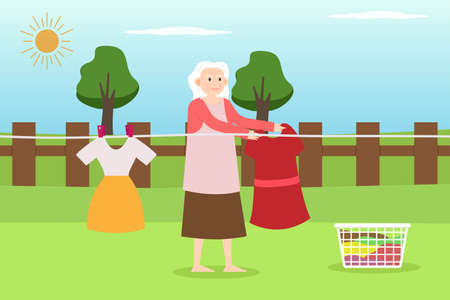 Housekeeping vector concept: Old woman drying clothes in sunny day while standing in the backyard