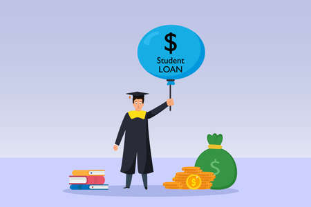 Student Loan bubble vector concept. Male student in graduation hat holding a balloon with student loan text