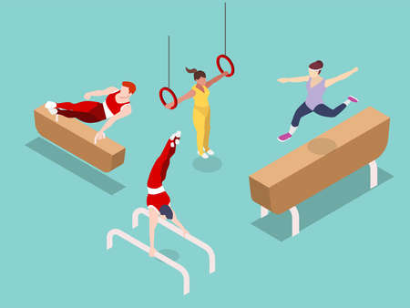 Sport vector conce. Set of people doing variety sport gymnastic while performing