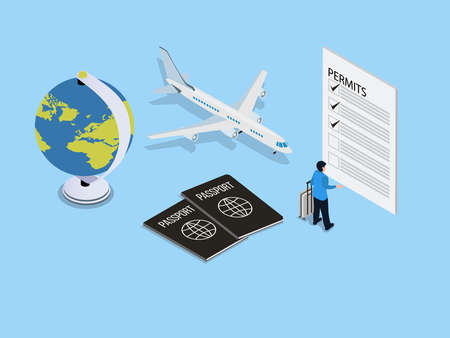 Young man carrying a luggage while filling permits form and standing with airplane, passport and, globe. Isometric vector concept