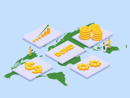 Corporate bonds vector concept. Business people with corporate bonds, money, and world map Vektorgrafik
