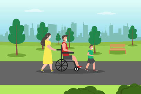 Disabled people vector concept: Little boy walking in the park with disable father and mother while wearing face mask in new normal