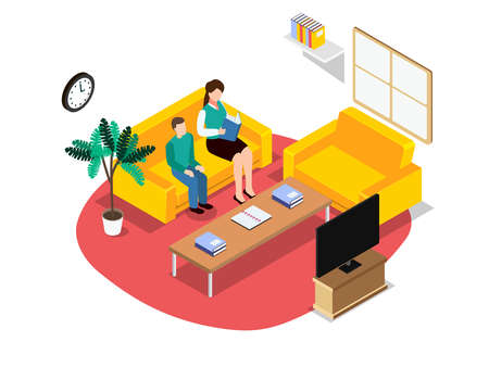 Motherhood vector concept. Little boy studying with his mother and sitting in the living room while doing study from home