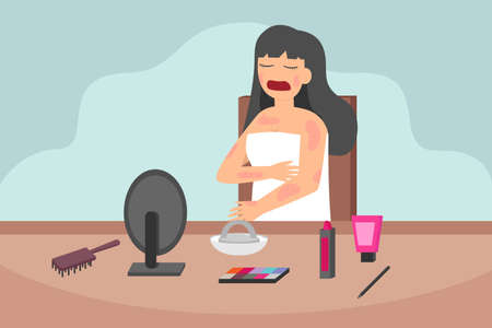 Cosmetics allergy vector concept: Young woman has skin problem while applying cosmetics on her body Vecteurs