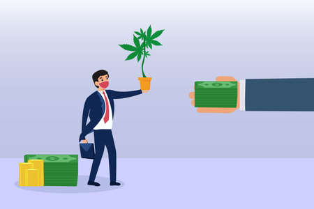 Cannabis abuse vector concept. Businessman in face mask selling cannabis