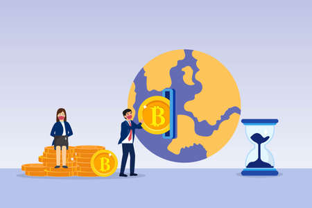 Cryptocurrency investment vector concept. Businessman inserting bitcoin into a globe with hourglass Vektoros illusztráció
