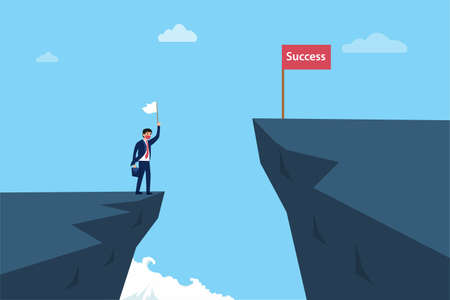 Sad businessman in medical face mask holding white flag and having give up on the gap while looking at the success flag on the other side cliff