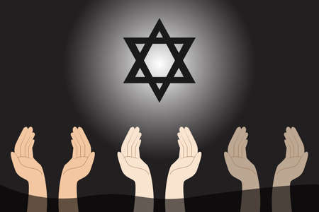 Jewish vector concept: Hands of people with jewish star symbol Vector Illustration