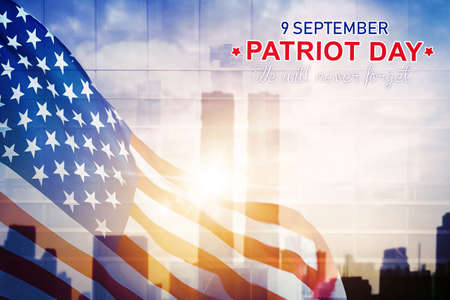 Double exposure of America flag with Patriot day text in twin towers background Stock Photo