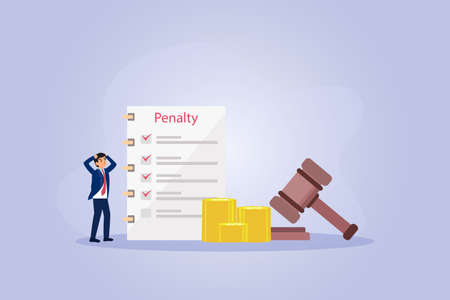 Penalty vector concept. Stressful businessman with penalty list and justice gavel