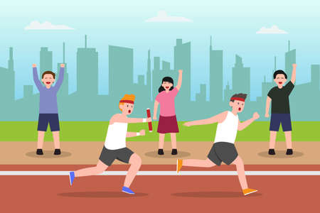 Relay competition vector concept: Group of young men passing baton in relay competition while the supporter support them Vektorgrafik