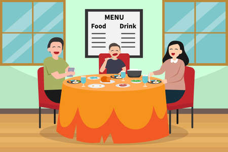 Quality time vector concept: Young parents and little boy eat together in the restaurant while enjoying quality time together Ilustração Vetorial