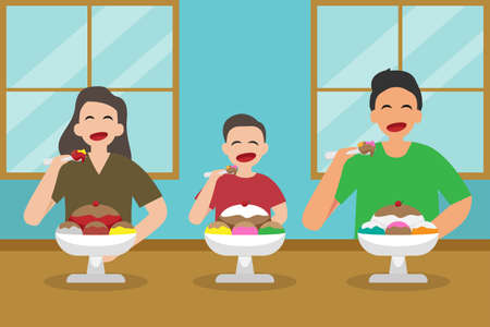 Quality time vector concept: Happy family eating ice cream together at home while enjoying leisure time