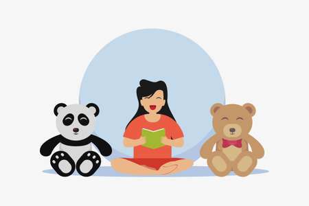 Reading book vector concept: Little girl reading a book with her dolls while sitting together on the floor