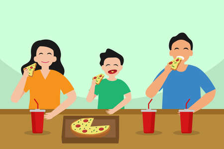 Quality time vector concept: Little son and young parents eating pizza together while enjoying quality time