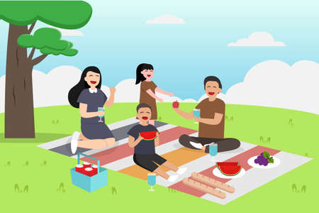 Quality time vector concept: Young parents and little children enjoying picnic together while eating fruits Vettoriali
