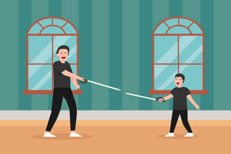 Parenthood vector concept: Yong father and little son exercising with fencing sword while enjoying leisure time