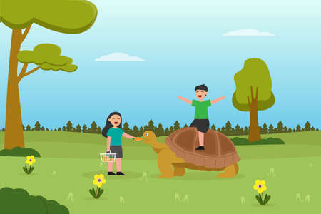 Zoo vector concept: Little girl feeding the tortoise with carrot while little boy riding the tortoise in the zoo