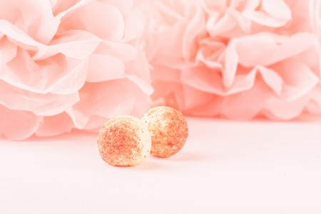 White chocolate round candy on a delicate pink coral background in the shape of a paper flower. Copy space. Selective focus. Horizontal frame. Archivio Fotografico