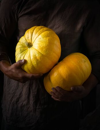 Fresh ripe pumpkin in the hands of a man men dark background. Autumn harvest concept. Selective focus. V