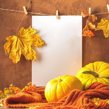 Empty white sheet of paper dry leaves hanging on clothespins with pumpkin scarf brown background. Autumn postcard Foto de archivo