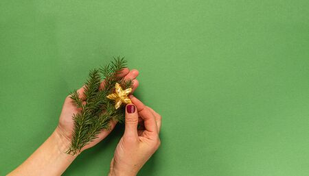 Christmas toy star made of natural materials fir branches in female hands, hands on a green background. Christmas Zero Imagens