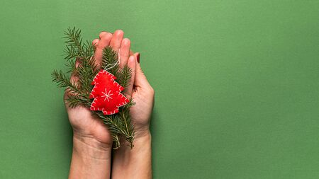 Christmas tree toy made from natural materials and fir branches in female hands, hands on a green background.