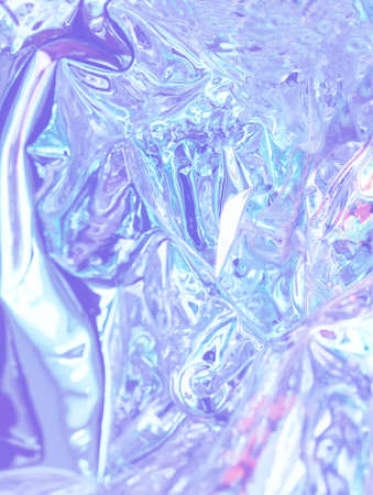 Abstract background shiny crumpled hologram with sparkles. Trendy neon textured background 免版税图像