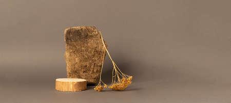 Abstract podium made of natural natural materials wood stone brown background 免版税图像