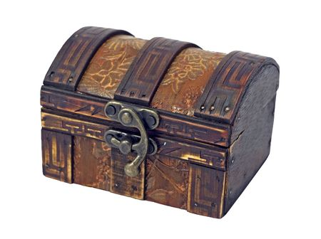 Isolated antique wooden chest on white background Stock Photo - 2337691