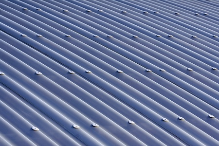 metal sheet: Blue corrugated metal sheet roof for background