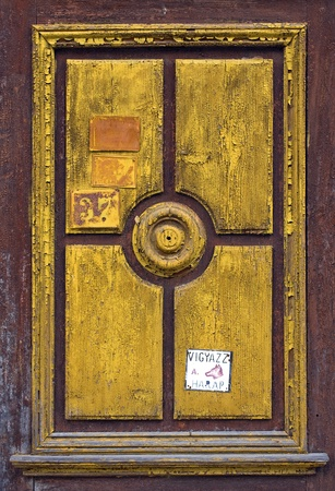 graining: Carved wood panel of an old, painted door
