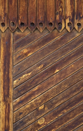 graining: Wall of a country house made from raw pine timber