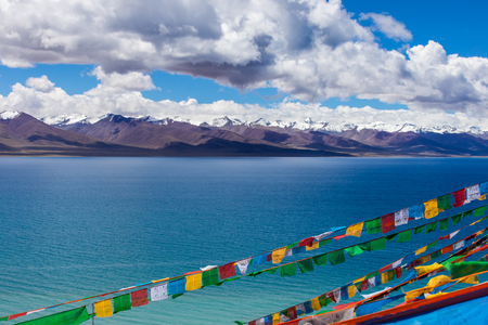 namtso lake scenery with flags