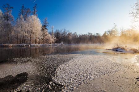 Landscape view of a snow land 版權商用圖片