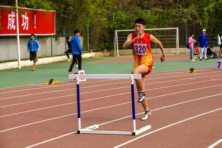 Sportsman running on runway