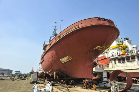 Ships and tugboat equipment for maintenance at shipyards