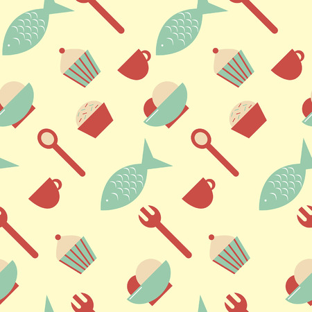Simple seamless food pattern Vector
