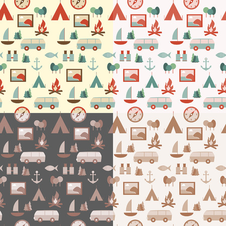 Set of seamless touristic patterns Vector