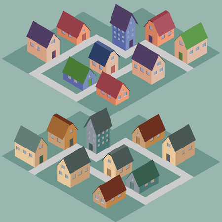 Set of abstract isometric houses Vector
