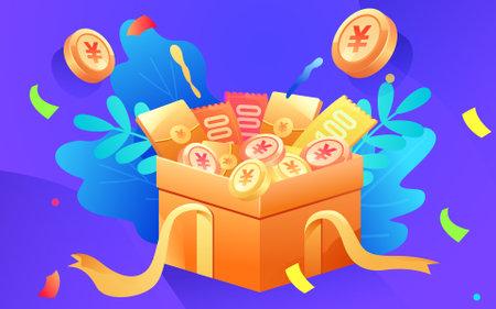 Cartoon gift box gold coin red envelope coupon Vektorgrafik