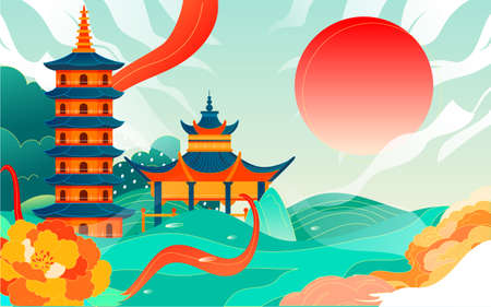 Chinese style ancient architecture city scenic area illustration changsha landmark travel poster Vecteurs