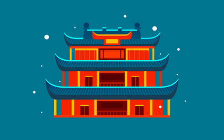 Chinese style ancient architecture city scenic area illustration changsha landmark travel poster