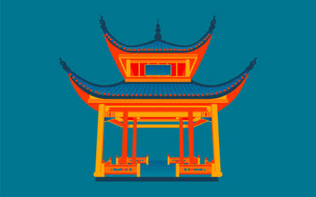 Changsha landmark love night pavilion illustration chinese style ancient architecture attractions poster Vecteurs