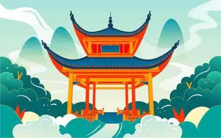 Changsha landmark love night pavilion illustration chinese style ancient architecture attractions poster