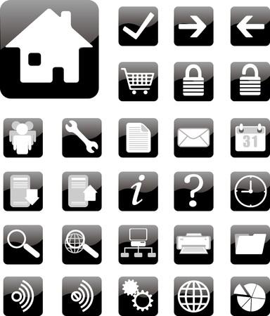 settings: website en internet pictogrammen op wit wordt geïsoleerd