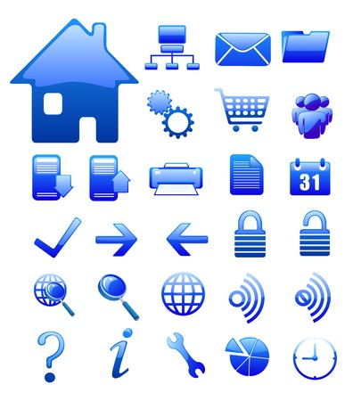 global settings: website  and internet icons isolated on white
